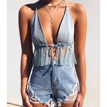 Women Clothes 2019 Hanging Neck Front Chest Strap Backless Gauze Hem Halter Shirt Women Streetwear Sleeveless Top Women Clothes