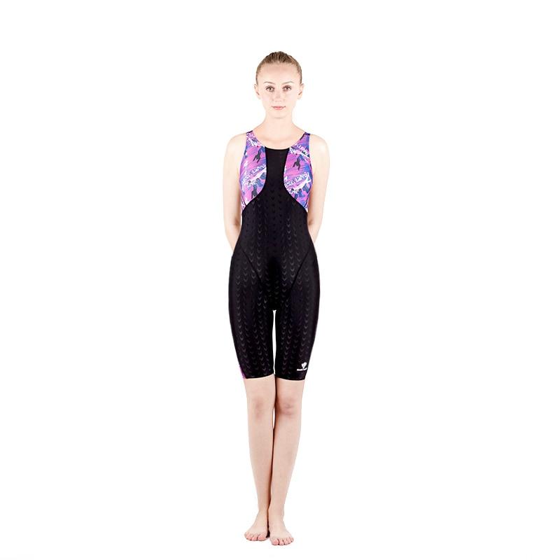 Femmes Sport professionnel haute elasticitésharkskin compétition soutien-gorge maillots de bain femme Sexy genou longueur une pièce entraînement maillot de bain
