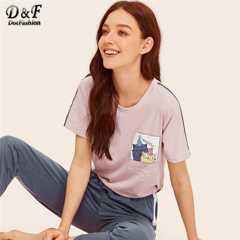 Dotfashion Cartoon and Letter Print   Pajamas   For Women Sleepwear   Set   Summer 2019 Short Sleeve Female Nightwear Casual   Pajama     Set