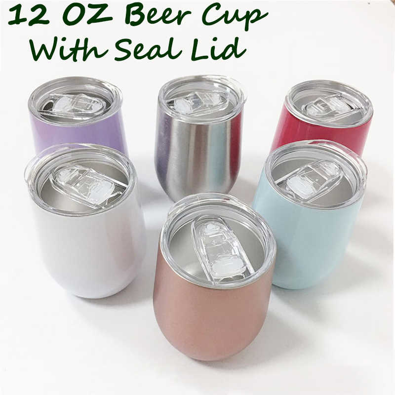12oz Beer Tumbler Cup with Seal Lids Stainless Steel Wine Glasses Coffee Steel Cup Mug Vacuum Rose Gold Thermos Christmas Gift