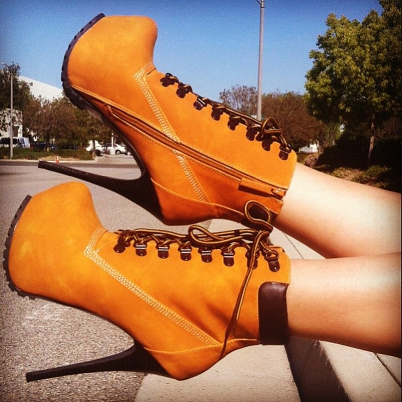 Women Ankle Boots High Heels 2017 Fashion Women Platform Shoes Lace-up Spring Autumn Boots Ladies Shoes Female Botas Femininas fashion army green camouflage canvas shoes woman rivets thin high heels boots botas sweet lace up ankle boots women femininas