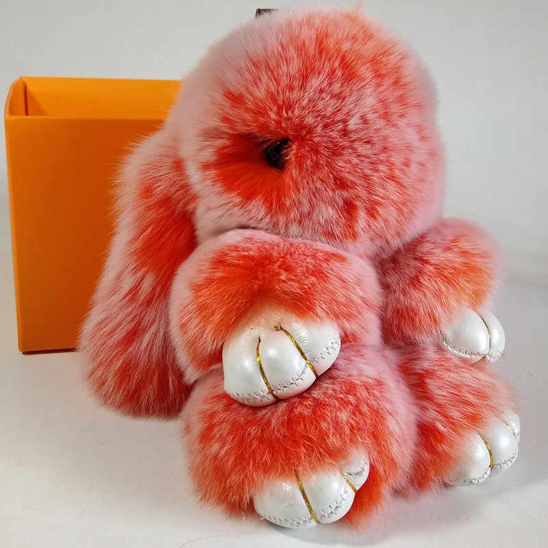 Femmes réel Rex lapin fourrure lapin porte-clés moelleux peluche multicolore jouet pendentif sac voiture charme porte-clés bijoux cadeau bibelot