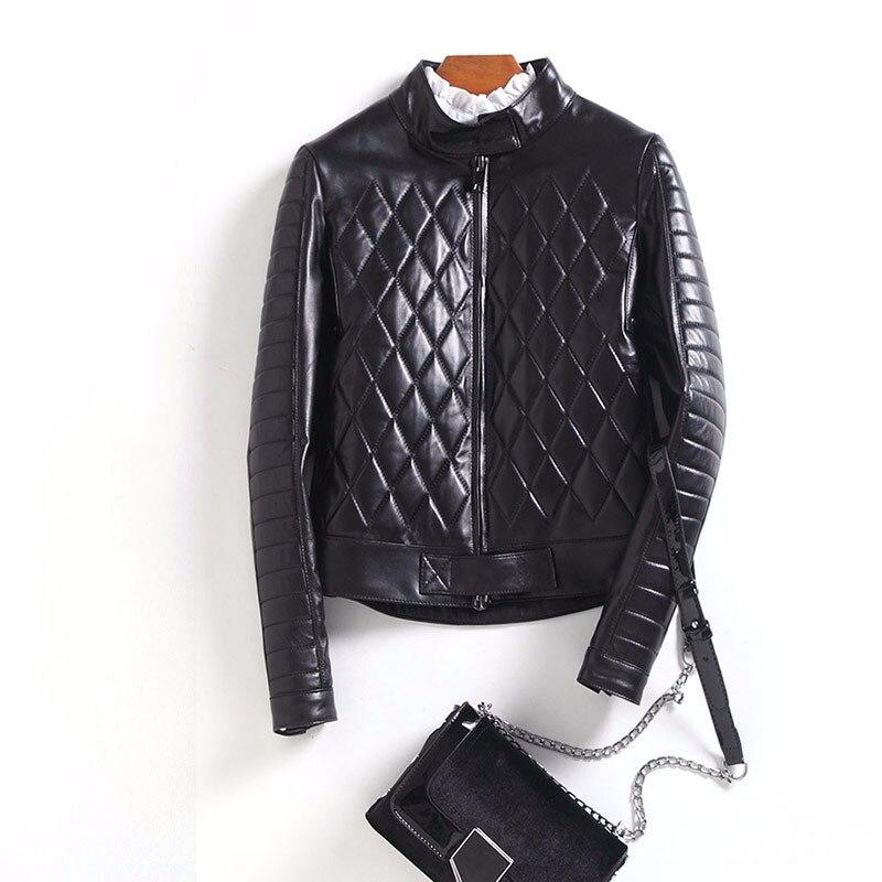 Carré couture naturel en peau de mouton en cuir veste femmes stand col court conception en cuir véritable manteau survêtement 2018 automne hiver
