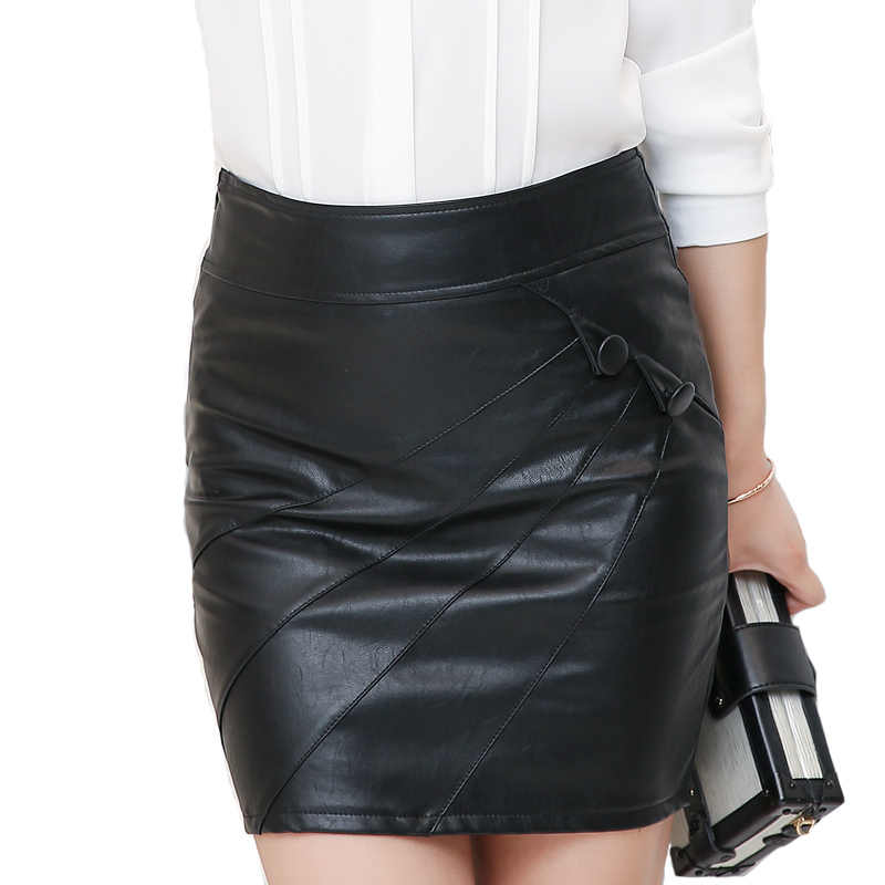 0522447623f7 2018 Autumn Winter PU Leather Women's skirt Sexy Red Black Female Pencil Skirts  Womens Spring Solid