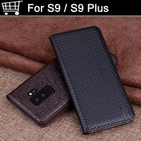 2PCS Genuine Leather Back Case Cover For For Samsung Galaxy S9 S9 Plus Coque Capas Flip