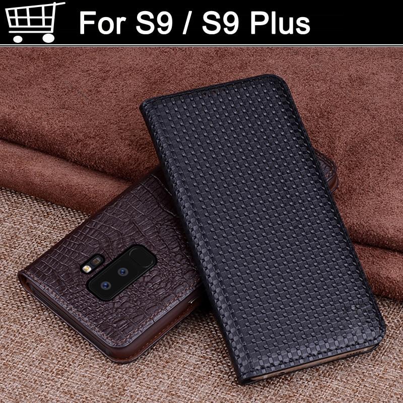 2 pièces housse de coque en cuir véritable pour Samsung Galaxy S9/S9 Plus coque capas étui à rabat coque pour S9 S9 Plus +