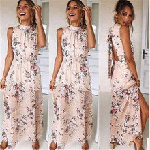 Summer Casual Clothing Womens Sleeveless Elegant Long Dress Ladies Boho Floral Printed Maxi Party Dresses