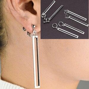 Dangle drop Earrings for women Ear clip without piercing Fashion slender bar jewelry female Romantic Gold silver ladies earrings