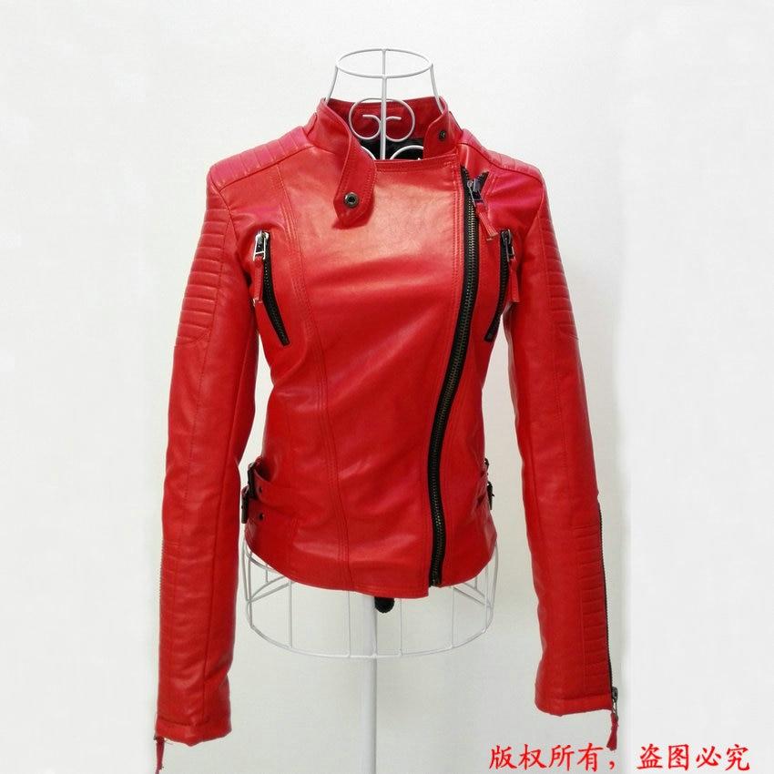 2017 New Fashion Autumn Winter Women Biker Faux Soft Leather Jackets Lady Pu Black Red Yellow Zipper Long Sleeve Motorcycle Coat