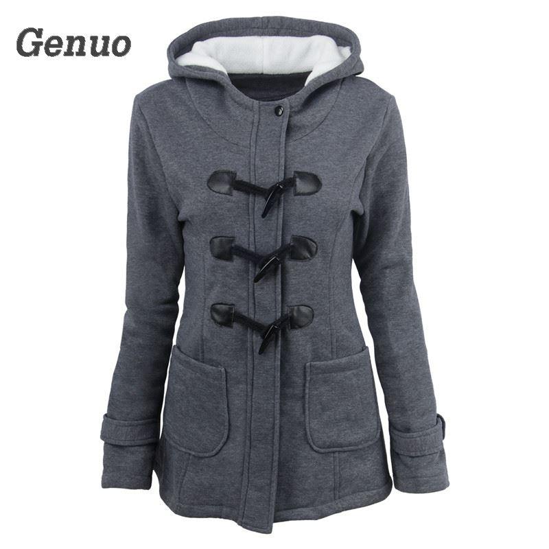 Genuo Autumn Winter Women Slim Hoodies Long Warm Zipper Sweatshirt Wool and Cotton Horns Buckle Design Coat Clothes Top