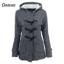 Genuo Autumn Winter Women Slim Hoodies Long Warm Zipper Sweatshirt Wool and Cotton Horns Buckle Design Coat Clothes Top