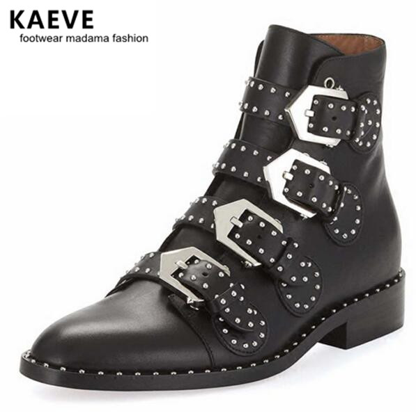 Kaeve Lady Black Boot Themost New Ankle Motorcycle Rivet Women Bottines Femmes Talon Plat Fashion Stud Autumn Rubber Shoe Martin ботильоны low boot talon voudi vel