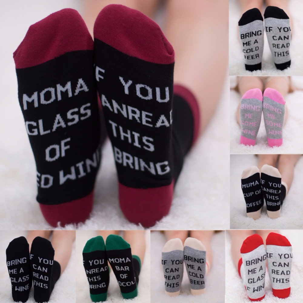 Fashion 1 Pairs Women Letter Print Socks If You Can Read This Bring Me A Glass Of Wine/Cold Beer/Coffee Men Women Crew Socks