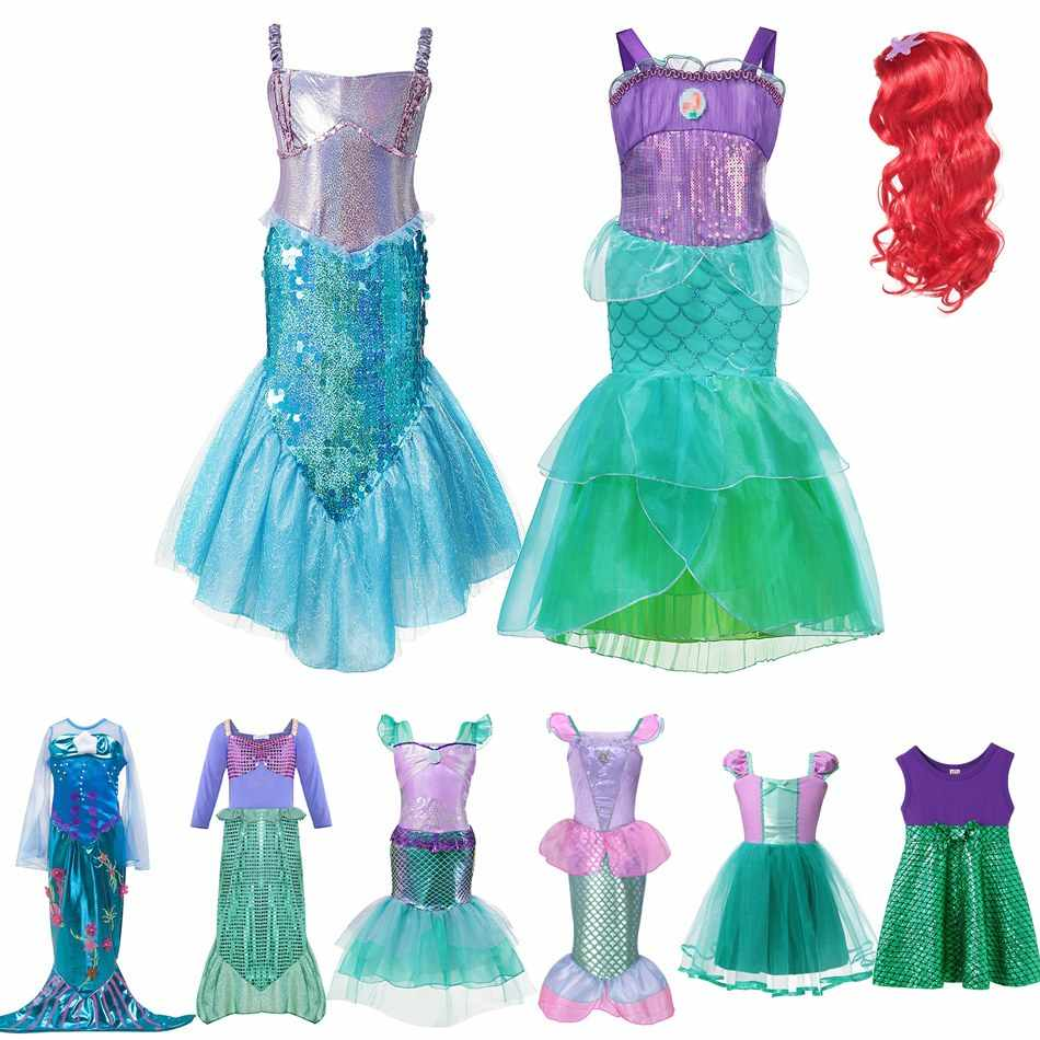 MUABABY Girls Little Mermaid Princess Fancy Dress Up Costume Children Summer Ariel Dresses Kids Birthday Party Outfit Clothing