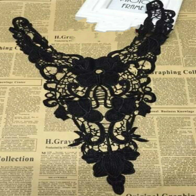2pcs/lot Black Embroidery Collar Venise Lace Flowers Neckline Collar Applique Trim And Lace Fabric Sewing Supplies