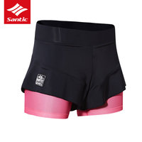 Santic Cycling Shorts Women Girl Sport Skirts Short Comfortable 4D Padded Mini Skirt Sport Bike Bicycle Cycle Short Skirt