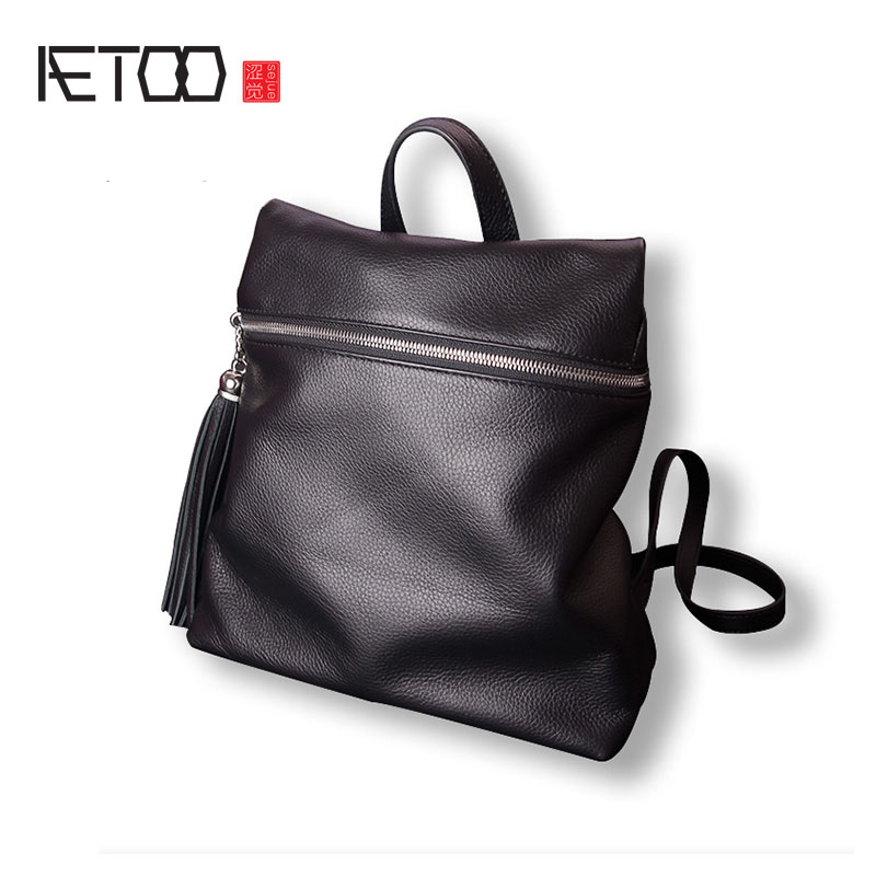 AETOO Leather shoulder bag female package soft leather tassel of the simple wild first layer of leather backpack aetoo shoulder bag female leather bag wild first layer of leather bag small backpack