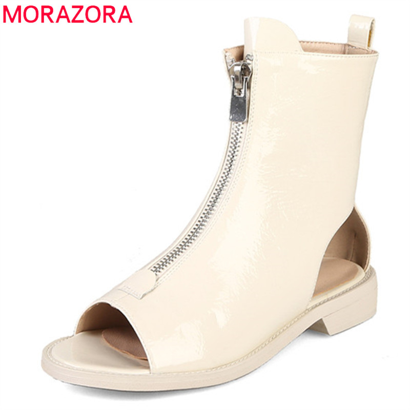 MORAZORA 2019 new arrival ankle boots for women patent leather summer boots zip peep toe gladiator