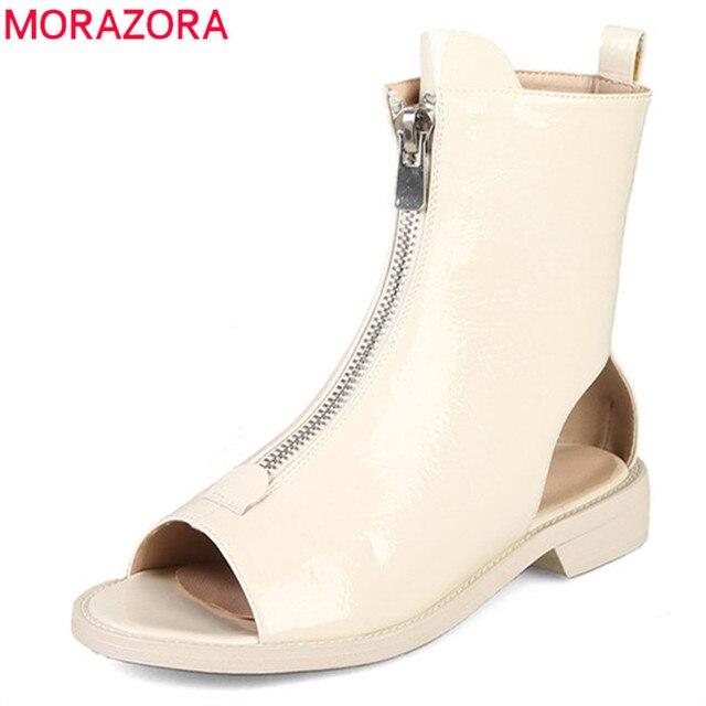 MORAZORA Botines de charol para mujer, botas de gladiador con cremallera y Punta abierta, zapatos de estilo punk, novedad de 2020