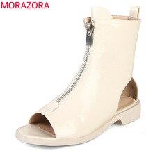 Morazora 2020 nova chegada botas de tornozelo para as mulheres de couro patente botas de verão zip peep toe gladiador do punk sapatos mulher botas