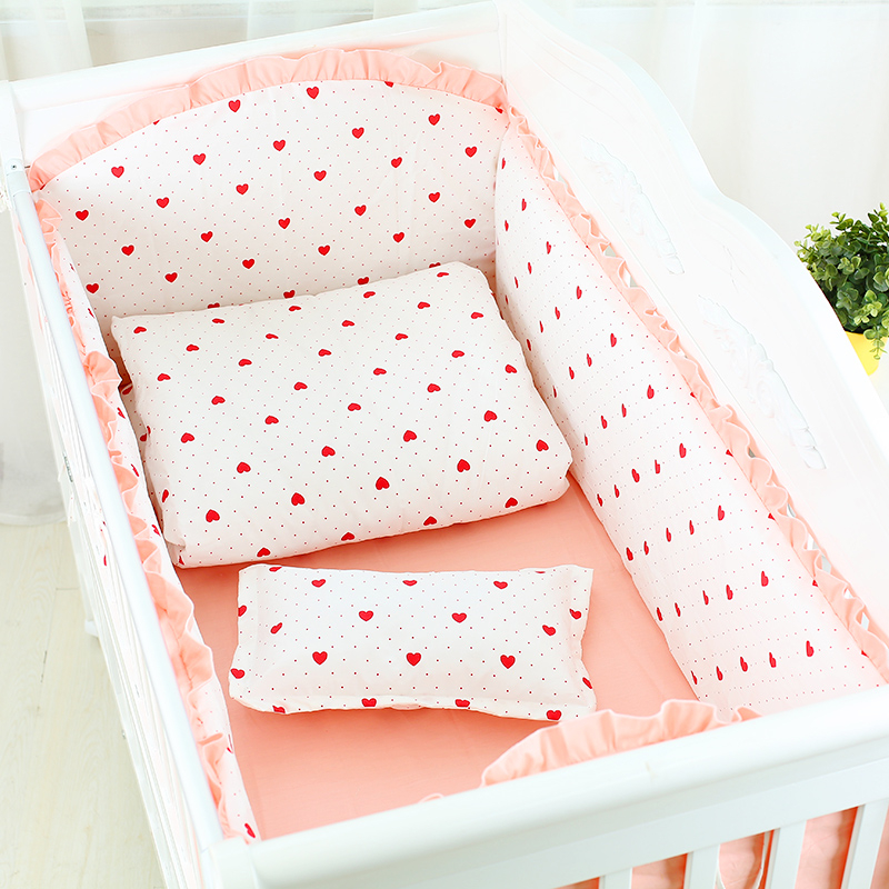 Lovely Heart Dot Print Baby Bedding Set 7pc Newborn Crib Bed Set With Quilt Pillow Sheet Cotton Baby Item Organizer For SleepingLovely Heart Dot Print Baby Bedding Set 7pc Newborn Crib Bed Set With Quilt Pillow Sheet Cotton Baby Item Organizer For Sleeping