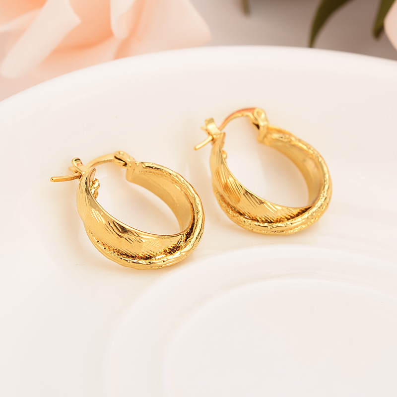 Bangrui χρυσά σκουλαρίκια κορίτσια Ντουμπάι χρυσά σκουλαρίκια Τουρκικά Αιγυπτιακή Αλγερία Ινδικό Μαροκινή Σαουδική χρυσή σκουλαρίκια γαμήλια δώρα