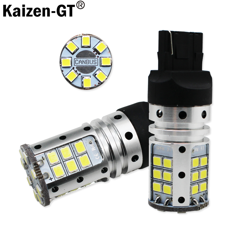 Kaizen Car Tail Light 7440 LED Canbus T20 W21W 3030 32SMD Auto Brake Reverse Lamp DRL Rear Parking Bulbs,White Red Yellow 27 smd 5050 led bulbs turn brake backup reverse tail light yellow 150 degrees bau15s py21w auto led bulb 12v