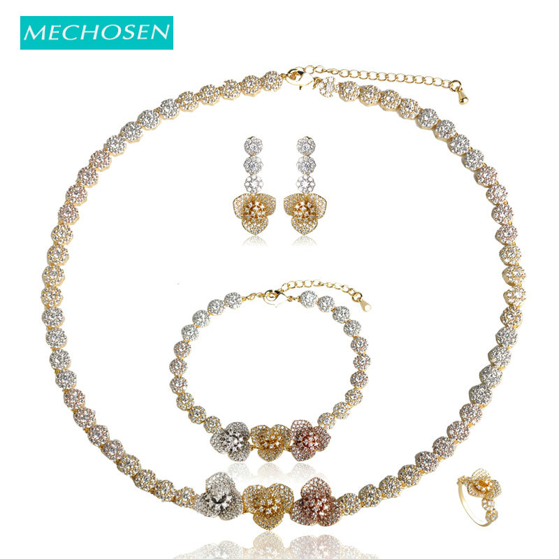 MECHOSEN Romantic Flower Shape Necklace Earrings Bracelet Ring Set Women Wedding Decorations Jewelry Sets Valentine's Day Gifts a suit of gorgeous rhinestoned flower necklace bracelet earrings and ring for women
