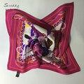 Sreddy bufanda cuadrada de seda foulards soie bufandas mujer mujeres bufanda 2016 rosy red Paisley cadena luxury brand bufandas bufanda de seda