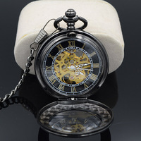 H185 Brand New Antique Style Hand Wind Up Mechanical Watch Black Dial Pocket Watch For Men
