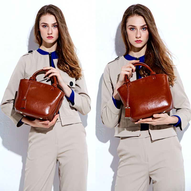 Women real cow genuine leather bags vintage handbags high quality top-handle bag 2017 new female shoulder bags casual tote bag 2016 famous brand large real leather tote bag female cow leather handbag high end women vintage bag black casual top handle bags