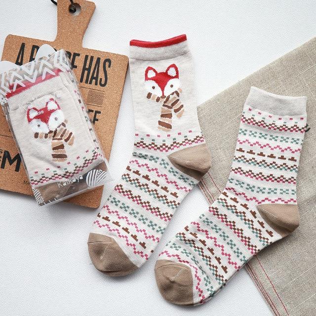 peonfly 2 pairslot funny christmas santa fox women socks winter warm soft - Funny Christmas Socks