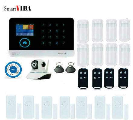 SmartYIBA RU DE EN IT WIFI GSM Alarm APP Network IP Camera Flash Siren Wireless Home Security Alarm Door Sensor Kits