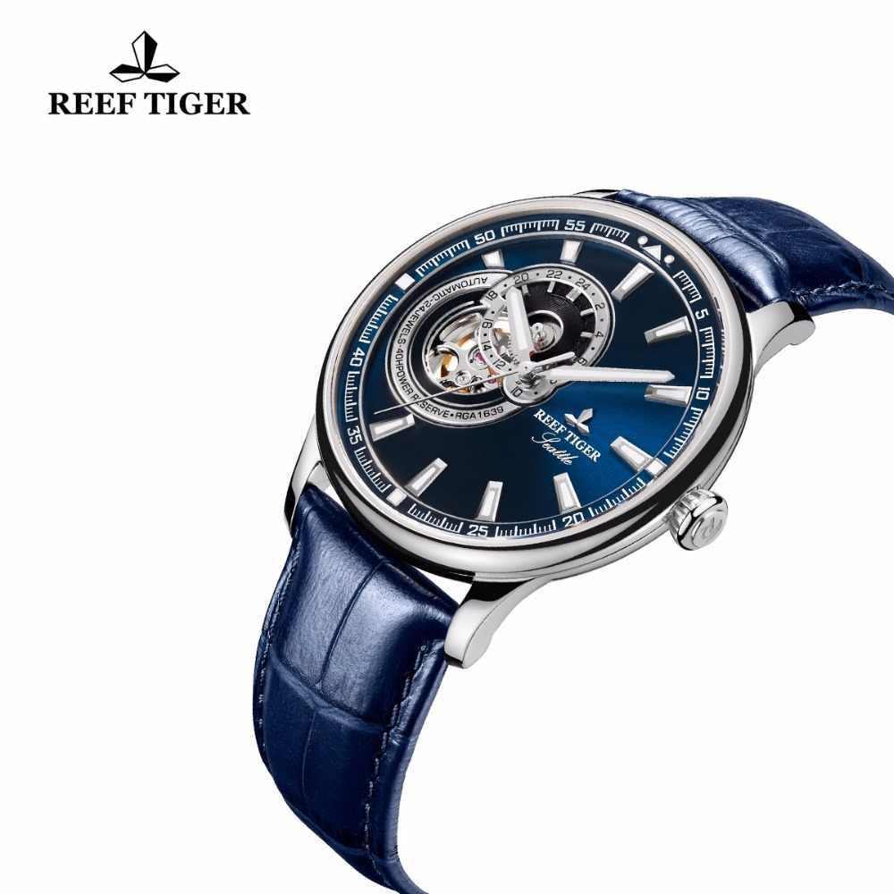 2019 שונית טייגר/RT יוקרה מותג סיבתי שעון גברים ספורט אמיתי עור Tourbillon קוורץ אנלוגי אופנה מפרק שעונים עמיד למים