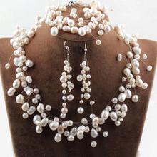 Очаровательные жемчужные свадебные комплекты ювелирных изделий, фантазийные свадебные жемчужные ожерелья, браслеты, серьги для подружек невесты, ювелирные изделия белого цвета
