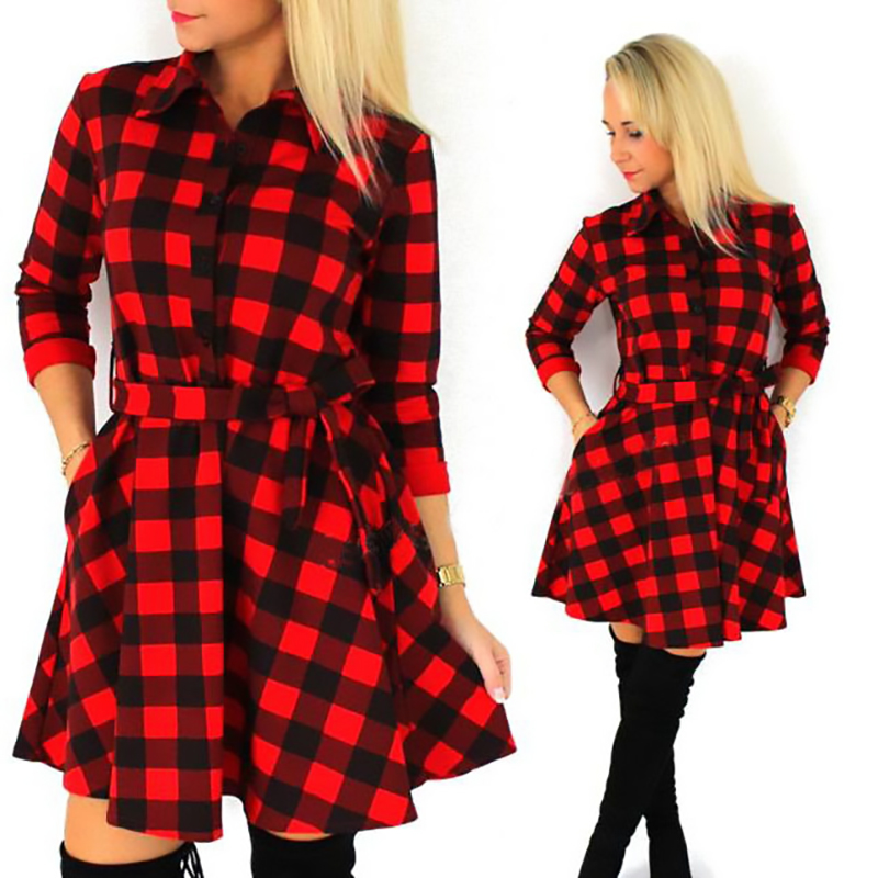 002f7d665701 2018 Women Fall Winter Casual Belt Dress Broadcloth Red Black Plaid Dress  Cropped Sleeves Shirt Free Shipping on Aliexpress.com | Alibaba Group