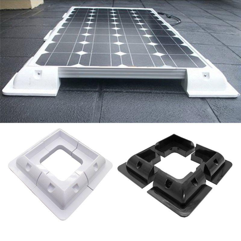 4 Pcs ABS Edges Solar Panel Mounting Brackets Black Corner Set Kit For RV Yacht/Solar Panel Corner Bracket Accessory