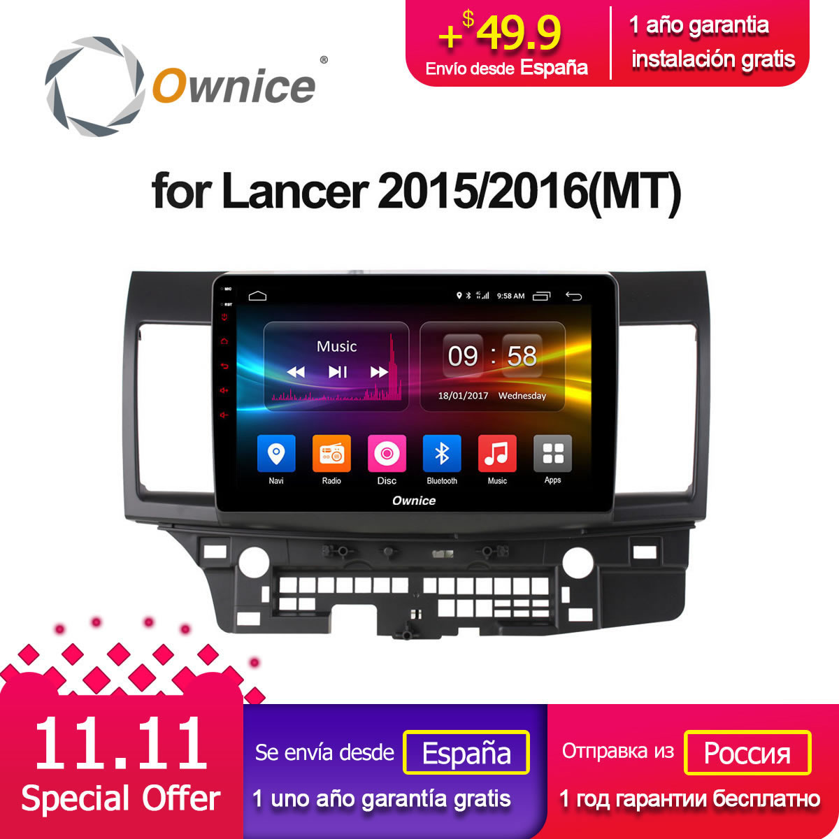 Ownice C500+ G10 Android 8.1 Octa 8 core 10.2 Car dvd GPS stereo radio for Mitsubishi Lancer 2015/2016(MT) 2G Ram 4G LTE DAB+ ownice c500 g10 octa core 2gb ram 32g rom android car dvd 8 1 gps for mazda 6 summit 2009 2015 wifi 4g lte radio dab dvr