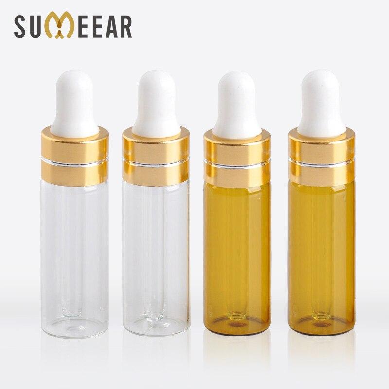 100 개/몫 5 ml 투명 갈색 색상 에센셜 오일 병 휴대용 앰버 유리 dropper 병 빈 화장품 용기-에서리필 병부터 미용 & 건강 의  그룹 1