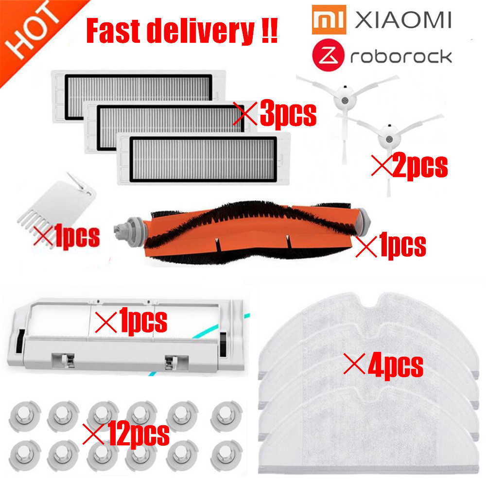 2pcs Suitable For Xiaomi Robot Vacuum Cleaner Spare Parts Roller Replacement Kits Cleaning Framed Hepa Filter Vacuum Cleaner Parts Home Appliance Parts