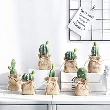Nordic Style Simulated Cactus Ornaments Lifelike Artificial Green Craft Ornament Photography Props Home Table Decoration