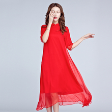 2017 Free Shipping China New Women Cheongsam Wind National Red Silk Dress Red Black Fashion Long Dresses