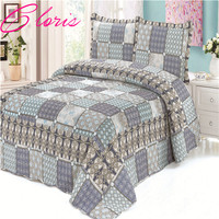 CLORIS Europe 100% Cotton 3 Pieces Vintage Style Floral Printed Quilted Bedspread King Size High Quality Patchwork Bedspreads