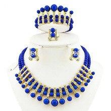 Африканское ожерелье комплекты украшений из бусин золото Африканский ювелирный набор африканские оптом свадебные ювелирные украшения бусины браслет