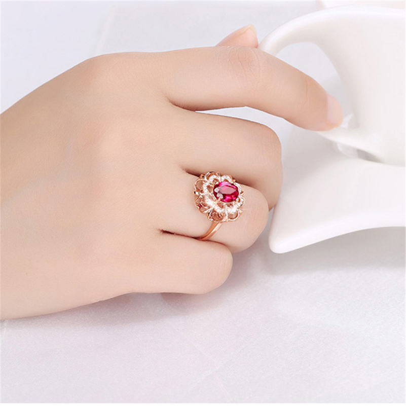 18K Rose Gold Wedding Engagement Alloy Ring For Anillos Diamond Ruby Gemstone Bizuteria Jewelry Red Agate Topaz Diamante Rings