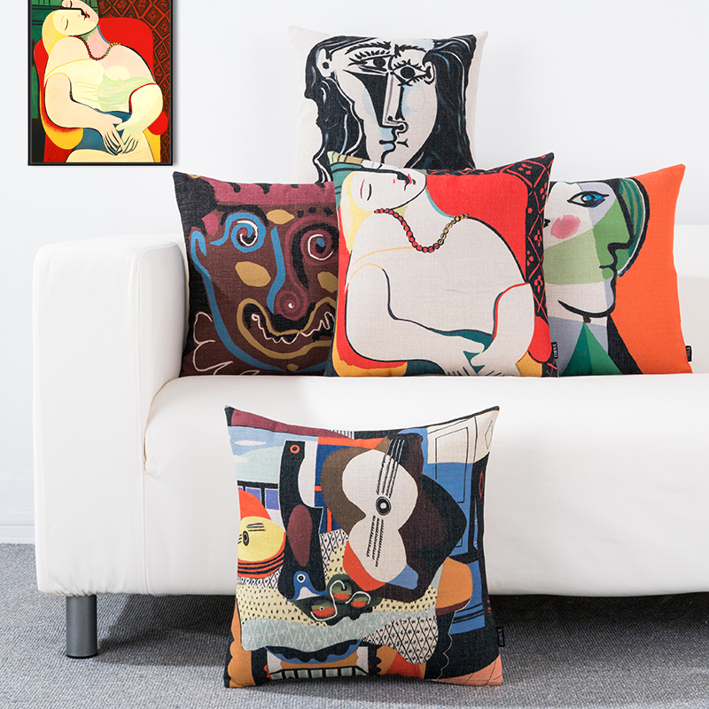 Picasso Artwork Cushion Cover Shabby Chic Cotton Linen Throw Pillow Cover Case for Sofa Couch Car Pillow Sham Home Decor 45x45cm