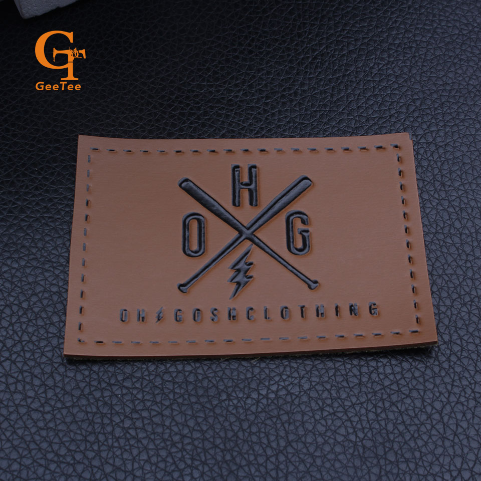 Us 142 5 5 offcustom logo brand name garment leather label pu leather labels jeans bags main embossed printed leather tags labels in garment