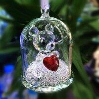 Kuvars Düğün Masa Favor Kristal Elmas kaplamalı Cam Kapak Içinde Sevimli Ayı çocuk Doğum Günü Hediyeler Için, vitrin dekorasyon