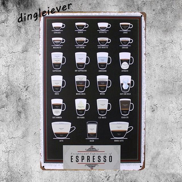 coffee menu metal sign vintage coffee signs kitchen decor cafe