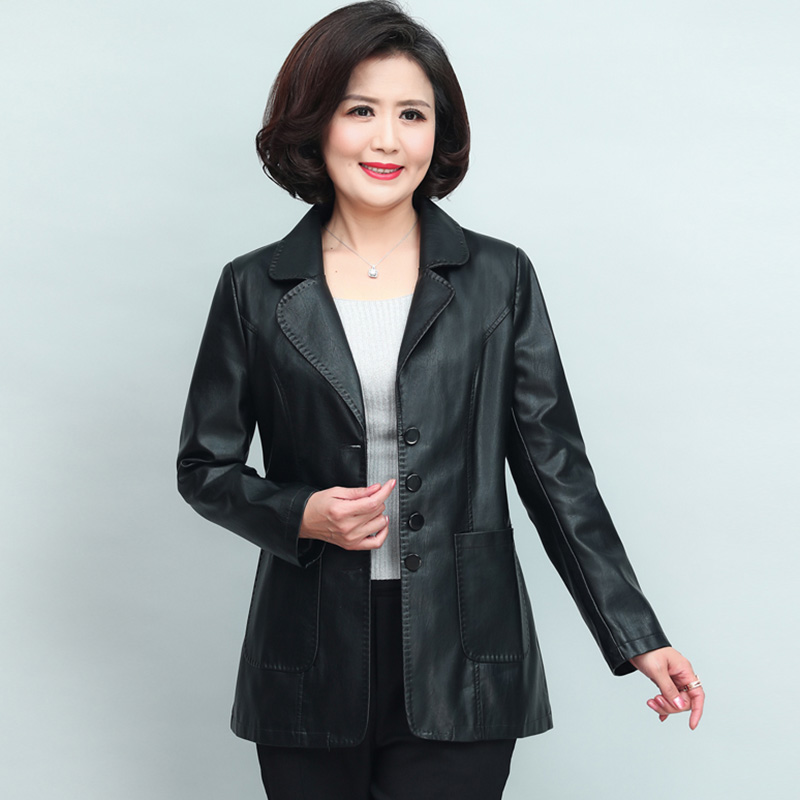 XL-6XL   Leather   Jacket Women New Fashion Plus Size Stand Collar Single-breasted Jacket Solid Long Sleeve Faux   Leather   Coat NW1622